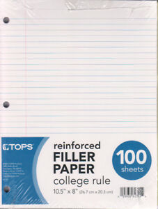 Reinforced Filler Paper College Ruled 100 Sheets units Per Case 12
