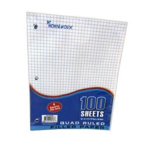 Quad Ruled Filler Paper 100 Sheet units Per Case 36