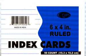Index Cards Ruled 50 Count 4 X 6 units Per Case 72