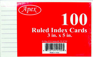 3 X 5 Ruled Index Cards 100 Count units Per Case 72