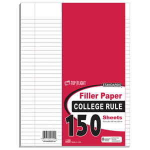 150 Count Filler Paper College Ruled Poly Wrapped units Per Case 24