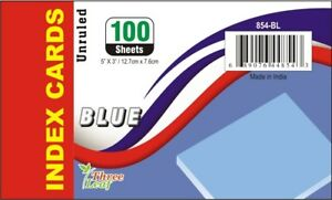 3 X 5 Blue Unruled Index Cards 100 Count units Per Case 40