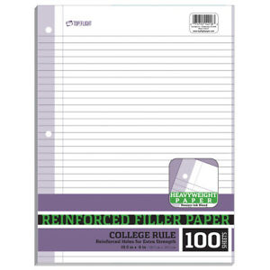 College Ruled Reinforced Filler Paper 10 5 X 8 units Per Case 24