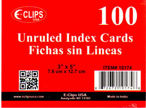 Index Cards Unruled 3 X 5 100 Ct units Per Case 72