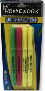 Fluorescent Highlighter Pen Markers 4 Pack units Per Case 48