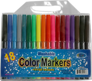 Watercolor Markers 18 Pack Assorted Colors units Per Case 48