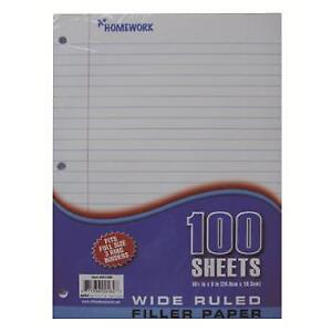 Filler Paper Wide Ruled 100 Sheets units Per Case 36