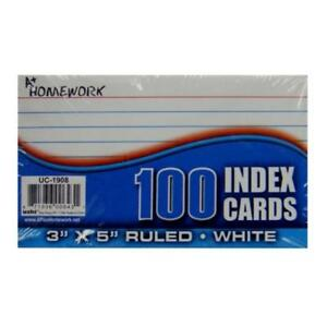Index Cards White Ruled 100 Count 3 X 5 units Per Case 48