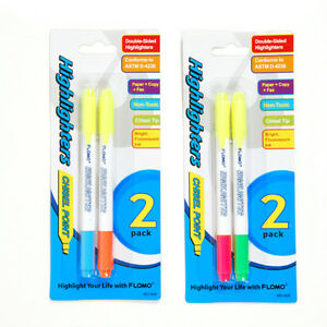 2 Pack Double Edge Chisel Tip Highlighters units Per Case 48