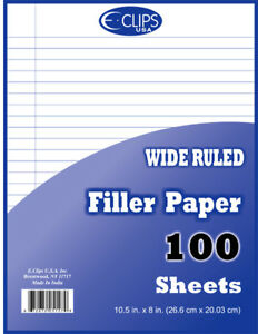 Wide Ruled Filler Paper 100 Sheets units Per Case 60