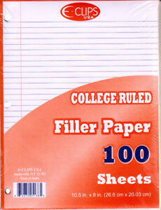 Filler Paper College Ruled 100 Sheets units Per Case 60