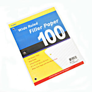 Filler Paper Wide Ruled 100 Sheet units Per Case 48