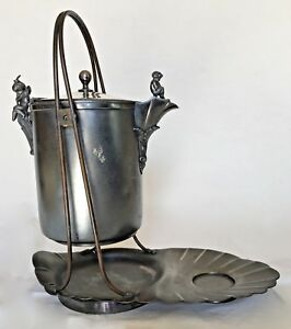 Antique Meriden Britannia Silverplate Pewter Tilt Pitcher Water Cooler W Stand