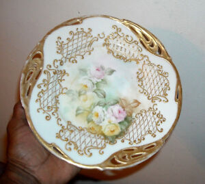 Bavaria Fancy Reticulated Cabinet Plate Raised Batwing Gold Pink Yellow Roses