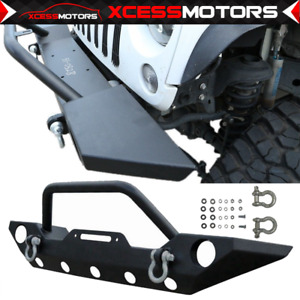 Fits 07 19 Jeep Wrangler Jk Jl Front Bumper Black With Winch Plate