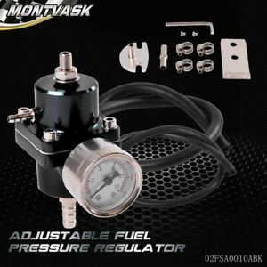Universal Jdm Adjustable Fuel Pressure Regulator Fpr With Psi Gauge Black