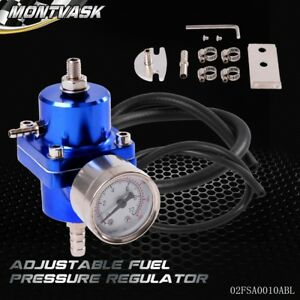 Universal 140psi Jdm Adjustable Fuel Pressure Regulator Fpr With Psi Gauge Blue