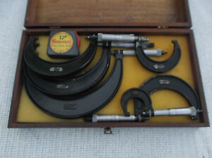 Vintage Set Starrett 0 6 Micrometer Set 436 With S W Wooden Box