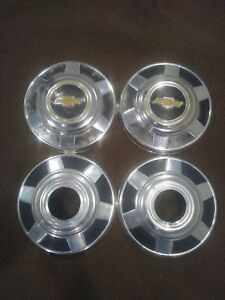 73 87 Chevy Dog Dish Hubcaps K20 K30 Small Hole 3 4 Ton 1 Ton 12 Driver Quality