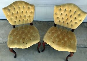 Antique French Style Tufted Upholstered Chair Pair One Set Of Two Yellow Green