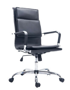 Pu Leather Ergonomic High Back Executive Computer Desk Task Office Black Chair