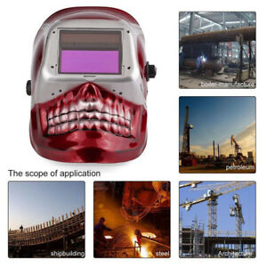 Auto darkening Welding Helmet Red Skeleton Protect Grinding Welder Mask Us U9d4x