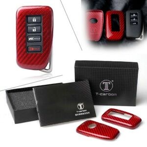 Auto Remote Key Cover Fob Case Protective Red Carbon Fiber For Lexus 2014 2017