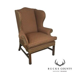 Ralph Lauren Chippendale Style Mahogany Wing Chair