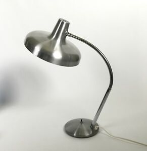 Vintage 1960s Mid Century Modern Machine Age Spun Aluminum Adjustable Table Lamp