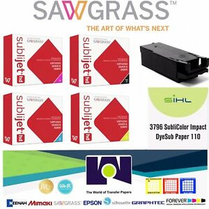 Sublimation Sawgrass Combo Ink Set Cmyk Waste Tank 100 Sh Impact Papers