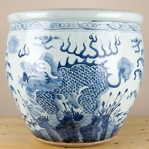 Chinese Large Blue And White Dragons Porcelain Fish Bowl Planter 22 D