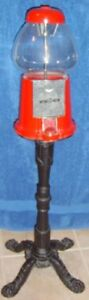 Gumball Machine Real Glass Vintage Candy Machine And Bank With Stand Red