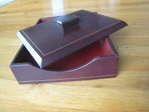 Leather Office Desk Tray For Letter And Documents With Lid
