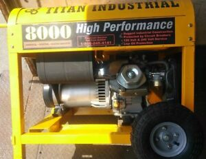Titan 8000 Industrial Generator Gas Electric Generator Jobsite Power