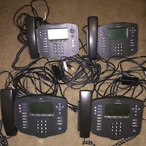 4x Polycom Soundpoint Ip501 Sip W power Cable Ac Adapter Stand Factory Reset