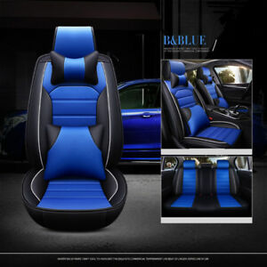 Luxury Deluxe Car Seats Cover W Headests Cushions Universal Full Sets Blue