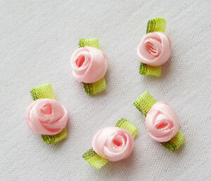 Lots Of 5 Minature Ribbon Work Rosettes Pink Ombre Green Leaves French