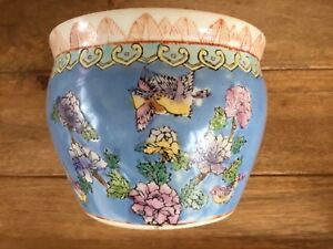 Vintage Chinese Porcelain Jardiniere Fish Bowl Planter As Is