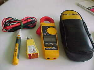 Fluke 324 Clamp On Volt Alert W outlet Check W leads Case bx 14
