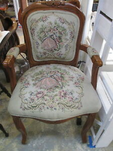 Vintage Wood Arm Chair French Provincial Upholstered Man Woman Tapestry Print