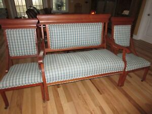 Antique Couch 2 Chairs Matching Set Simple Country Style Late 1800 S Reupholster