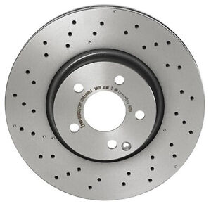 For Mercedes W204 W212 Front Coated Cross Drilled Disc Brake Rotor 322 Mm Brembo