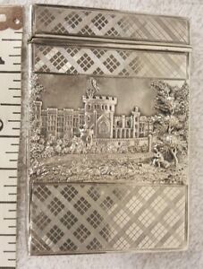 Antique Victorian Sterling Silver Castle Top Card Case Castles Front And Back
