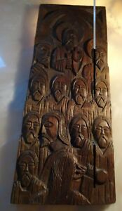 Antique Hand Carved Wood Wall Plaque Panel