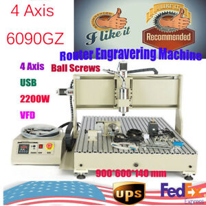 2 2kw Usb 4 Axis 6090 Cnc Router Engraver Engraving Metal Drilling Machine Vfd