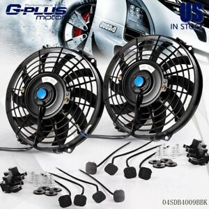 Universal 9 Inch Slim Fan Push Pull Electric Radiator Cooling Engine Kit 12v 80w