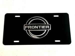 Nissan Frontier 2 Logo Diamond Etched On Black Aluminum License Plate