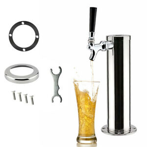 Single Tap Draft Beer Tower Homebrew Kegerator Chrome Faucets Home Party Stock