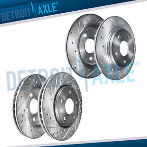All Front Rear Drilled Slotted Brake Rotors For 2003 2004 2007 Honda Accord
