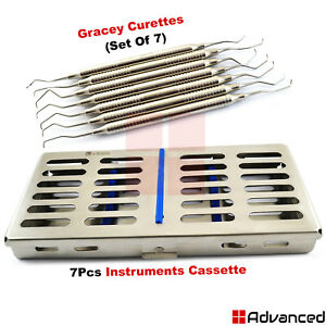 7pcs Dental Periodontal Gracey Curettes With Sterilization Cassette Tray Box Kit